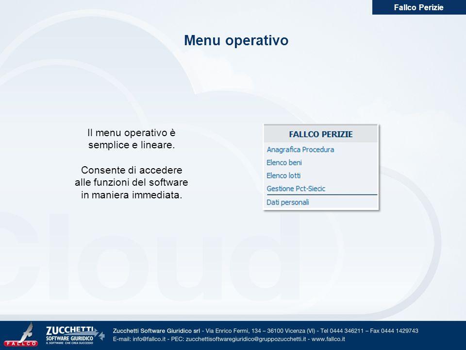 Menu operativo Il menu operativo è semplice e lineare.
