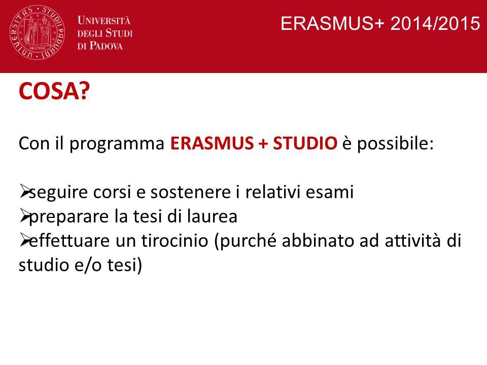 COSA Con il programma ERASMUS + STUDIO è possibile: