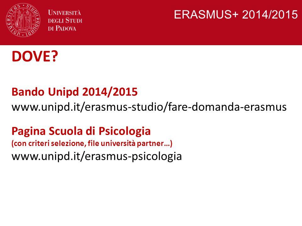 ERASMUS+ 2014/2015 DOVE Bando Unipd 2014/2015. www.unipd.it/erasmus-studio/fare-domanda-erasmus.