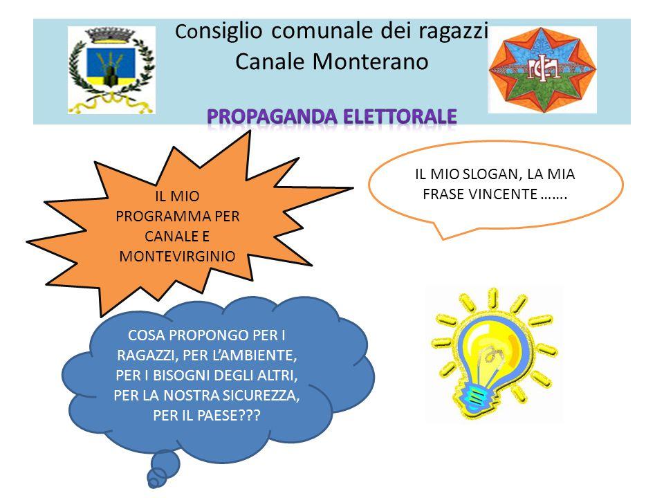 Consiglio comunale dei ragazzi Canale Monterano PROPAGANDA ELETTORALE