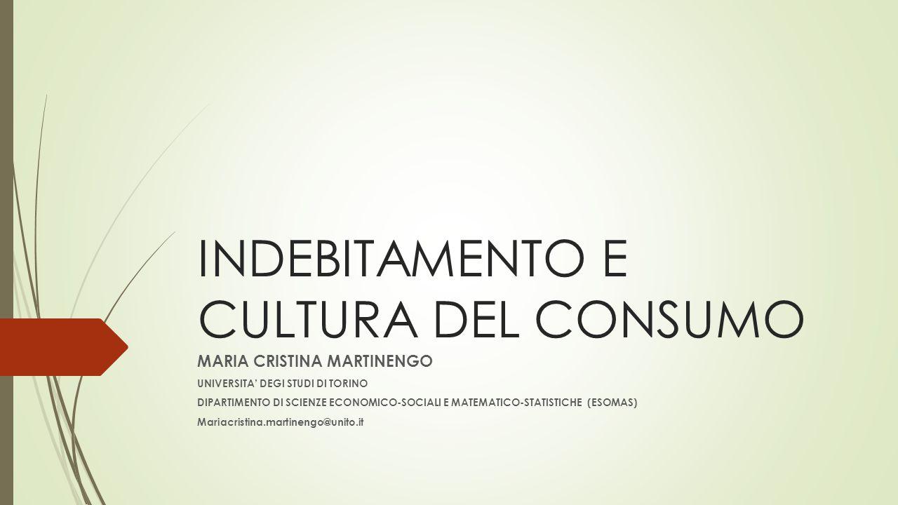 INDEBITAMENTO E CULTURA DEL CONSUMO