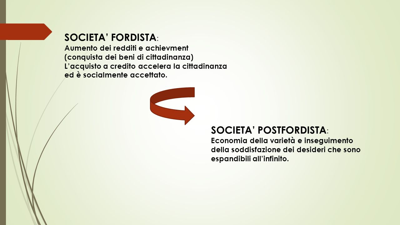 SOCIETA' POSTFORDISTA: