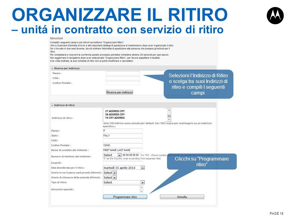 ORGANIZZARE IL RITIRO – unitá in contratto con servizio di ritiro