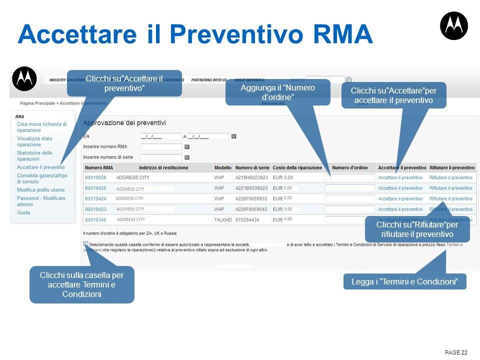 Accettare il Preventivo RMA