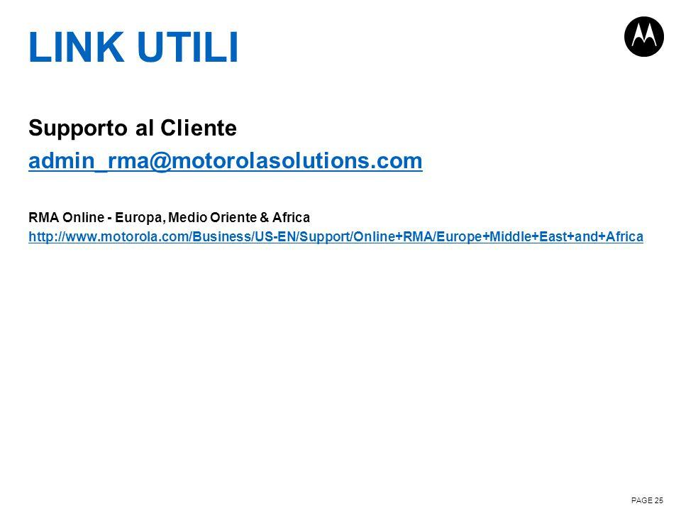 LINK UTILI Supporto al Cliente admin_rma@motorolasolutions.com