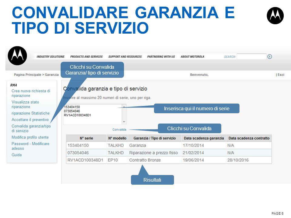 CONVALIDARE GARANZIA E TIPO DI SERVIZIO
