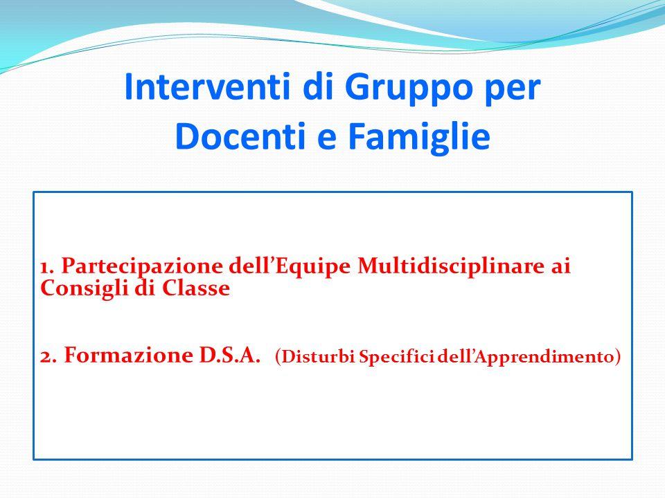 Interventi di Gruppo per Docenti e Famiglie