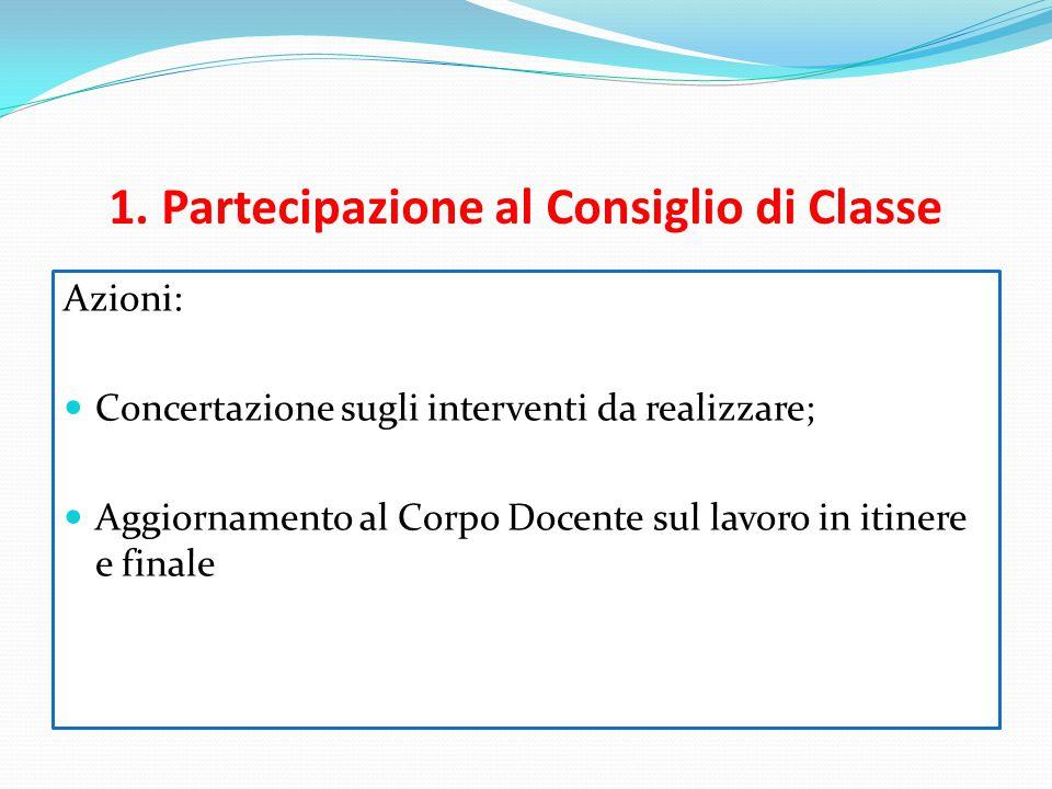 1. Partecipazione al Consiglio di Classe