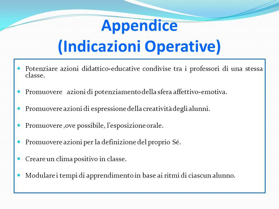 Appendice (Indicazioni Operative)