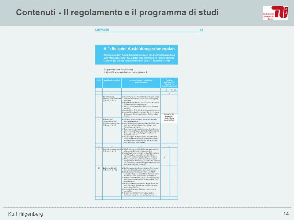 Contenuti - Il regolamento e il programma di studi