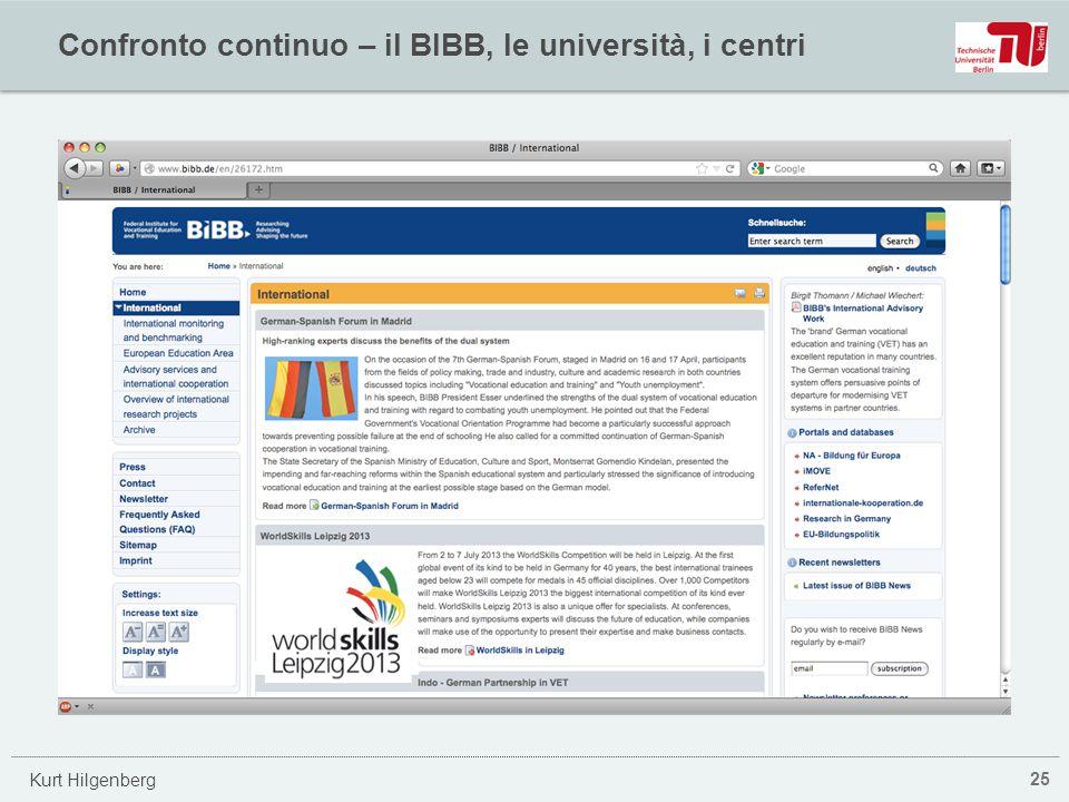 Confronto continuo – il BIBB, le università, i centri