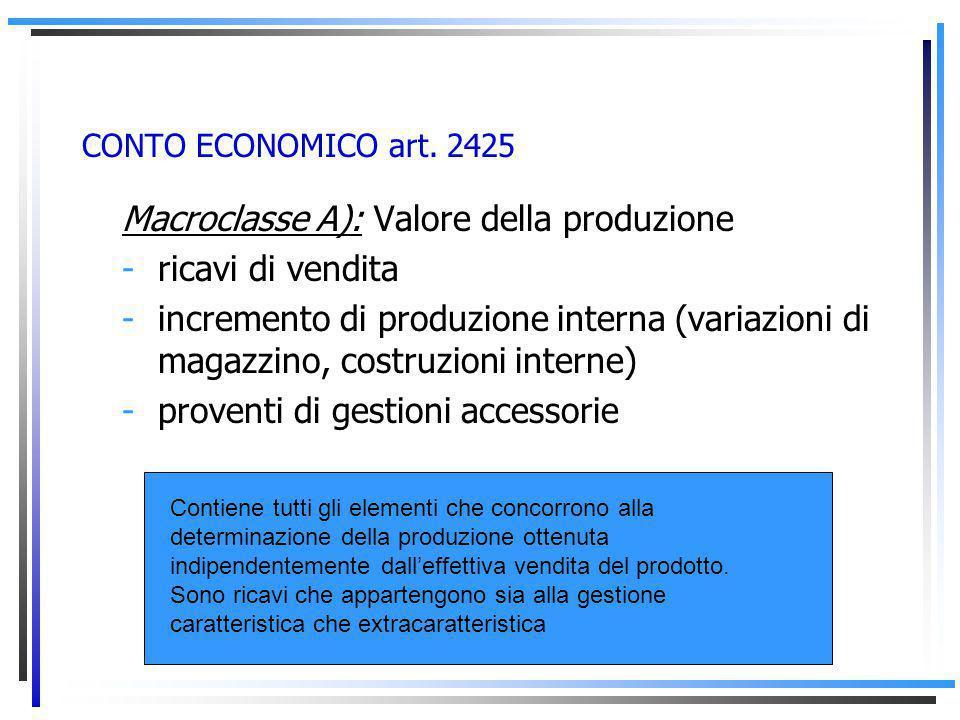 Macroclasse A): Valore della produzione ricavi di vendita