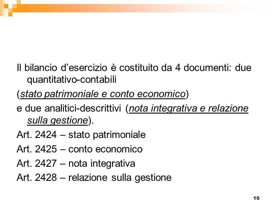 Il bilancio d'esercizio è costituito da 4 documenti: due quantitativo-contabili