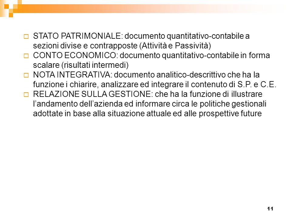 STATO PATRIMONIALE: documento quantitativo-contabile a sezioni divise e contrapposte (Attività e Passività)