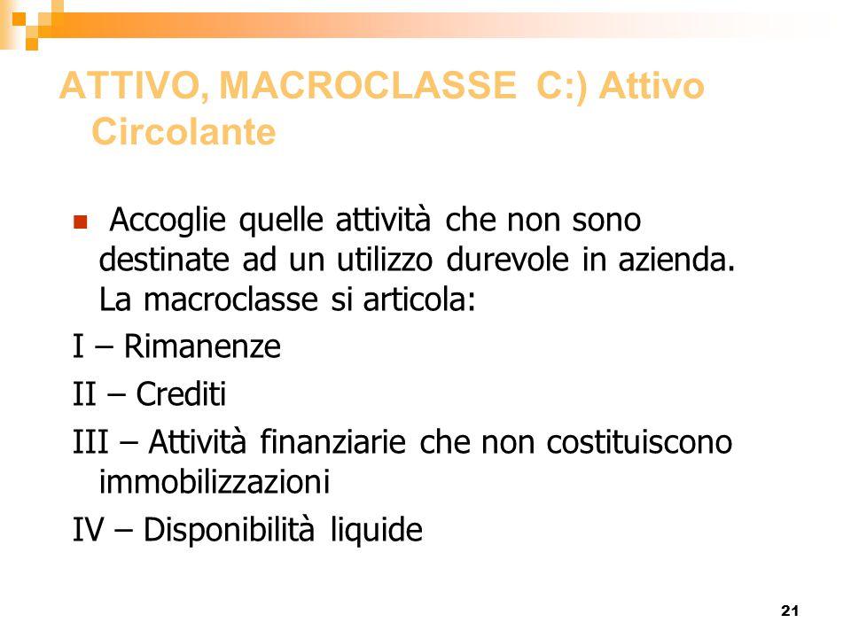 ATTIVO, MACROCLASSE C:) Attivo Circolante
