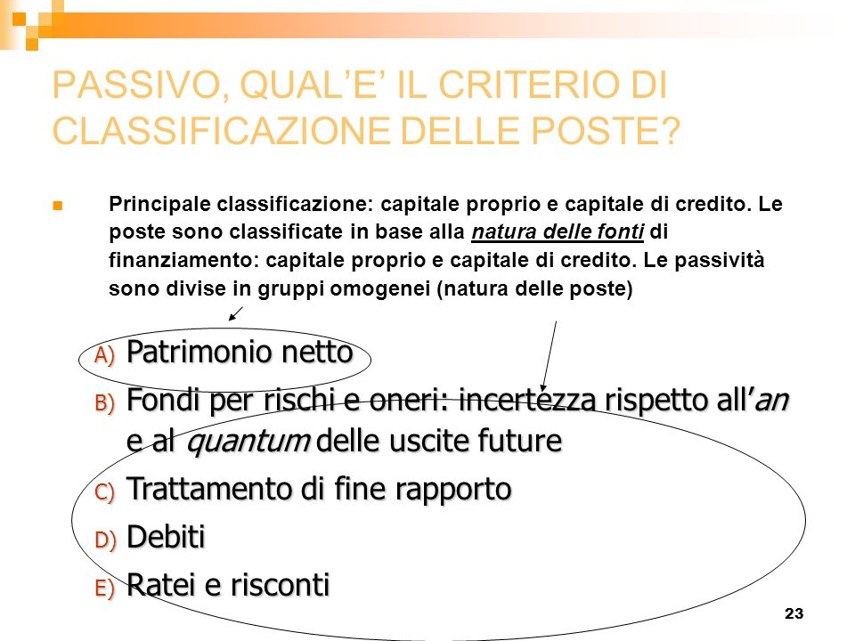 PASSIVO, QUAL'E' IL CRITERIO DI CLASSIFICAZIONE DELLE POSTE
