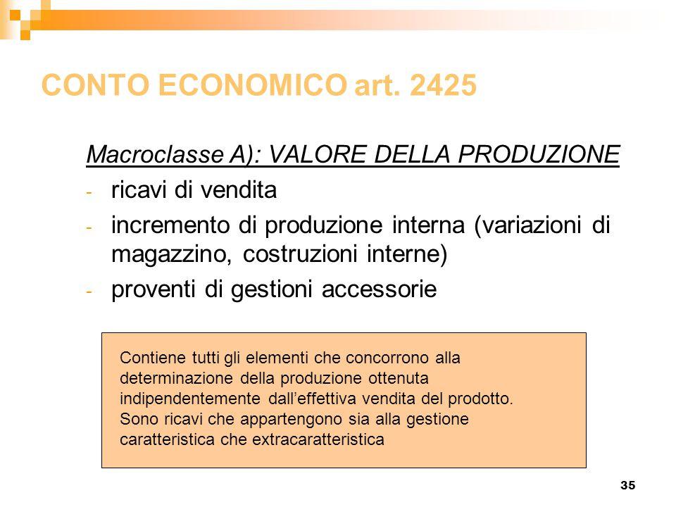 CONTO ECONOMICO art. 2425 Macroclasse A): VALORE DELLA PRODUZIONE