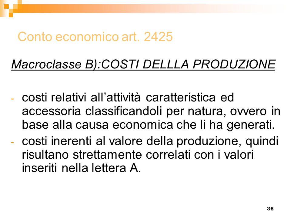 Conto economico art. 2425 Macroclasse B):COSTI DELLLA PRODUZIONE