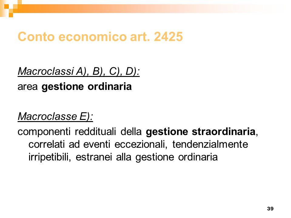 Conto economico art. 2425 Macroclassi A), B), C), D):