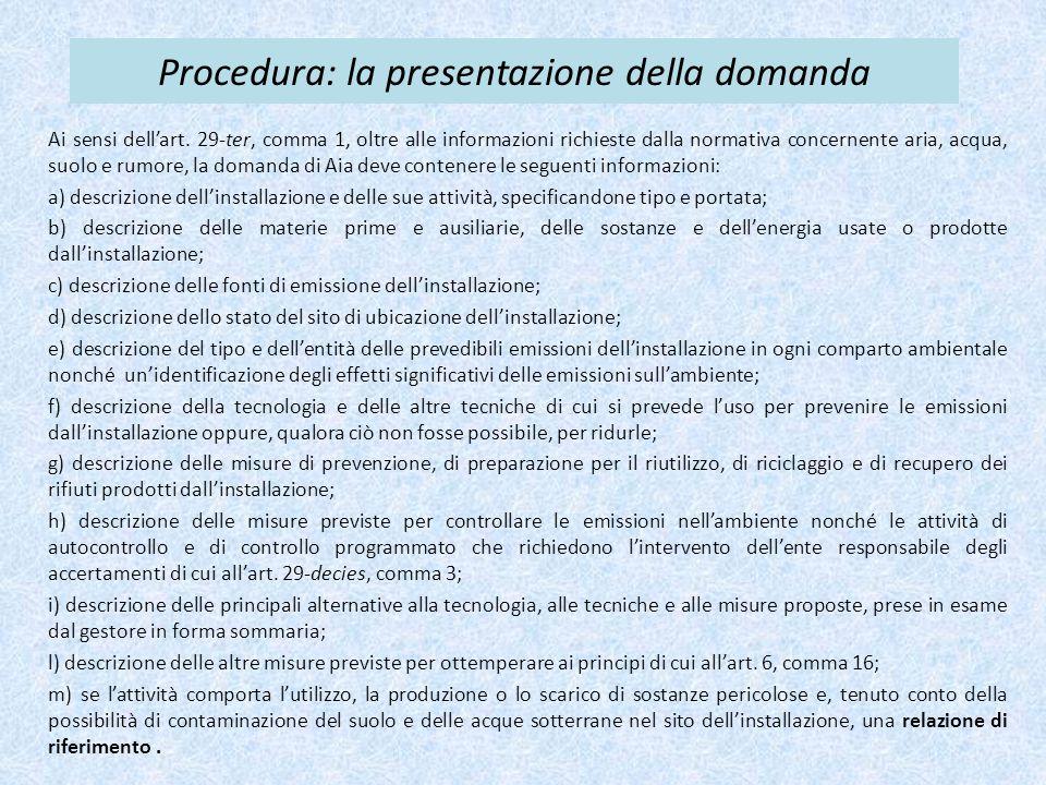 Procedura: la presentazione della domanda