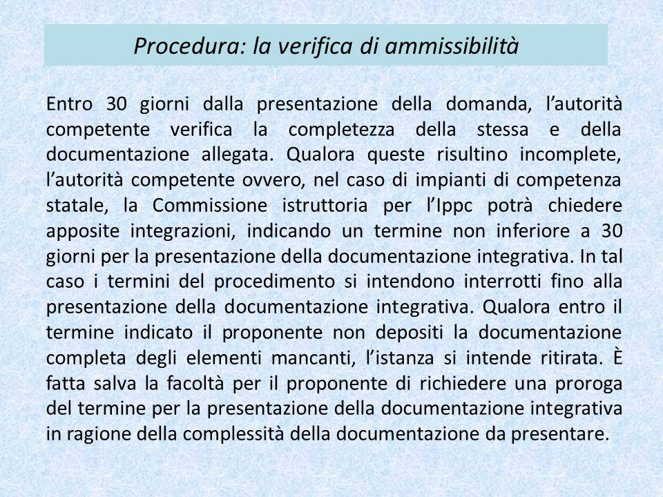 Procedura: la verifica di ammissibilità
