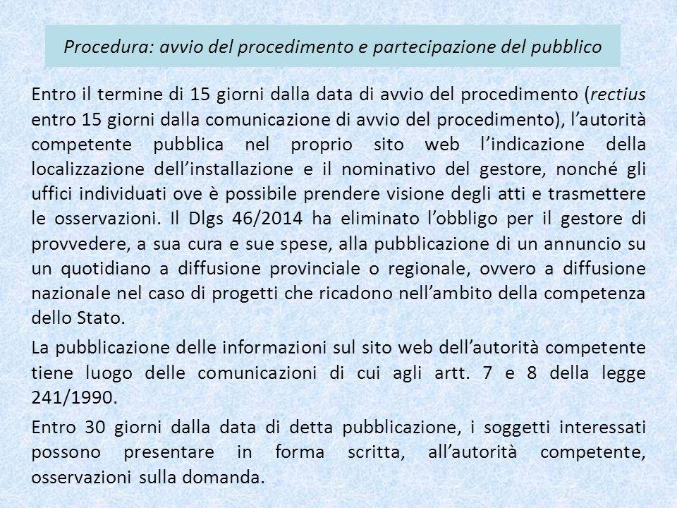 Procedura: avvio del procedimento e partecipazione del pubblico