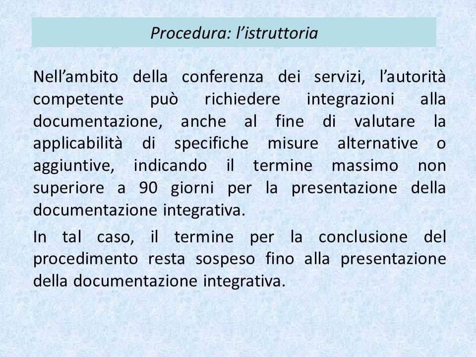 Procedura: l'istruttoria