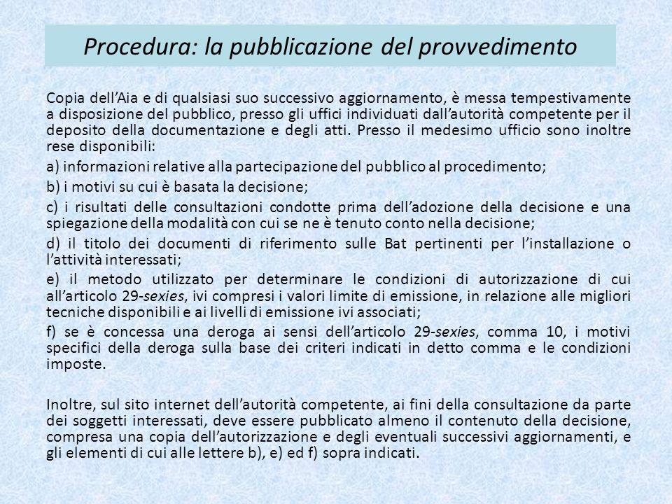 Procedura: la pubblicazione del provvedimento