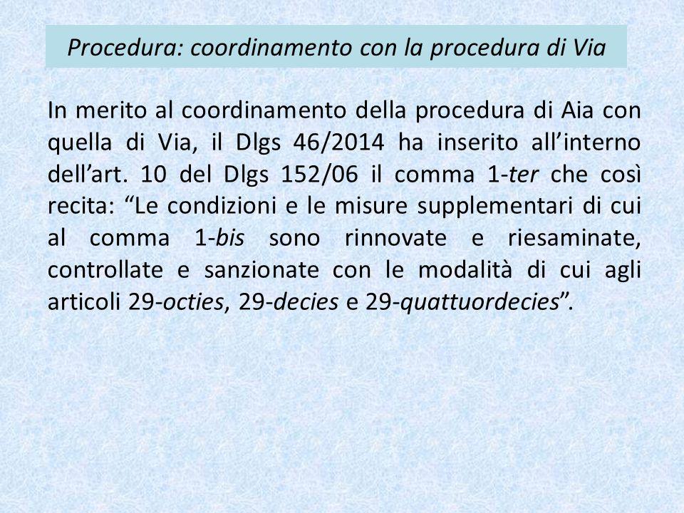 Procedura: coordinamento con la procedura di Via
