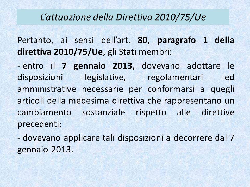 L'attuazione della Direttiva 2010/75/Ue