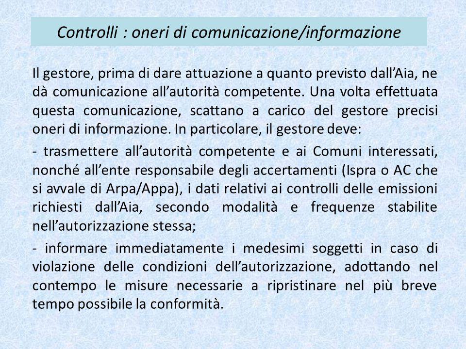 Controlli : oneri di comunicazione/informazione