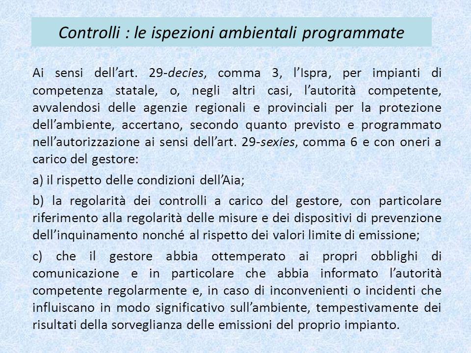 Controlli : le ispezioni ambientali programmate