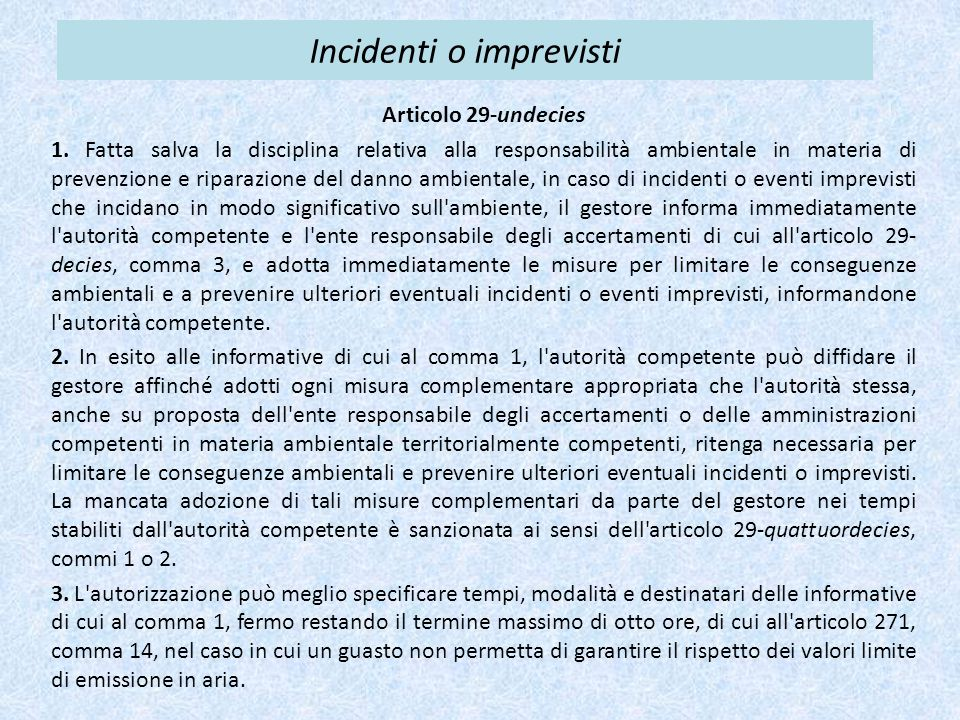 Incidenti o imprevisti