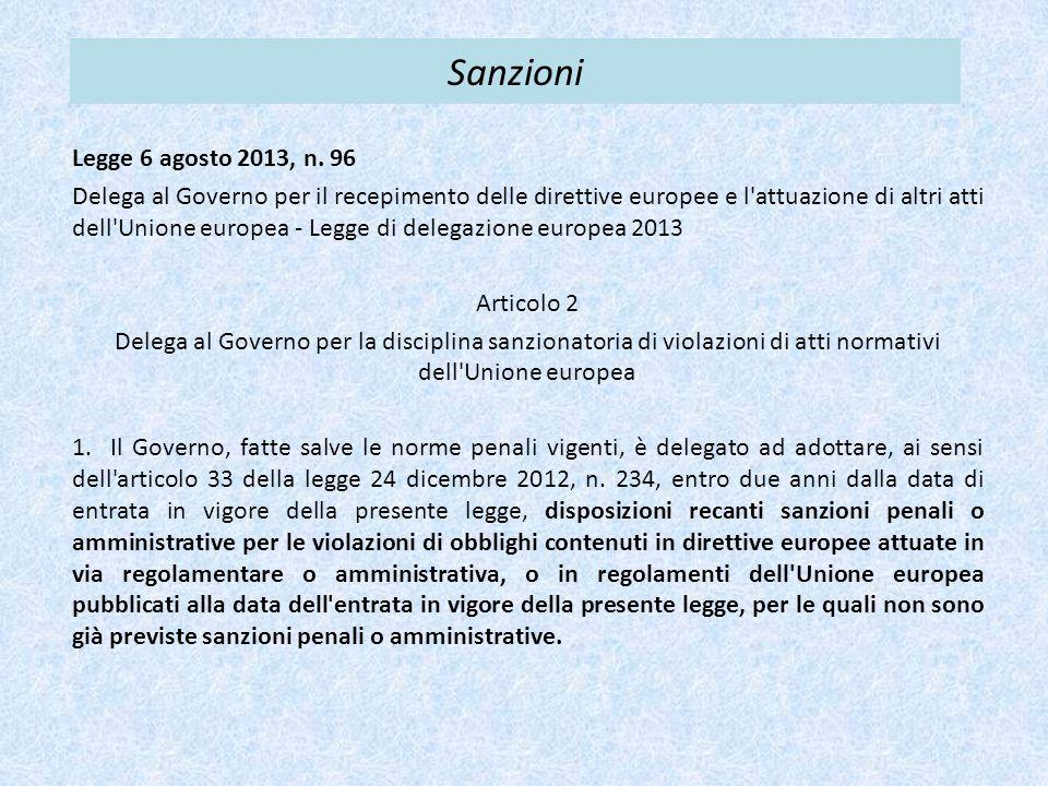 Sanzioni Legge 6 agosto 2013, n. 96