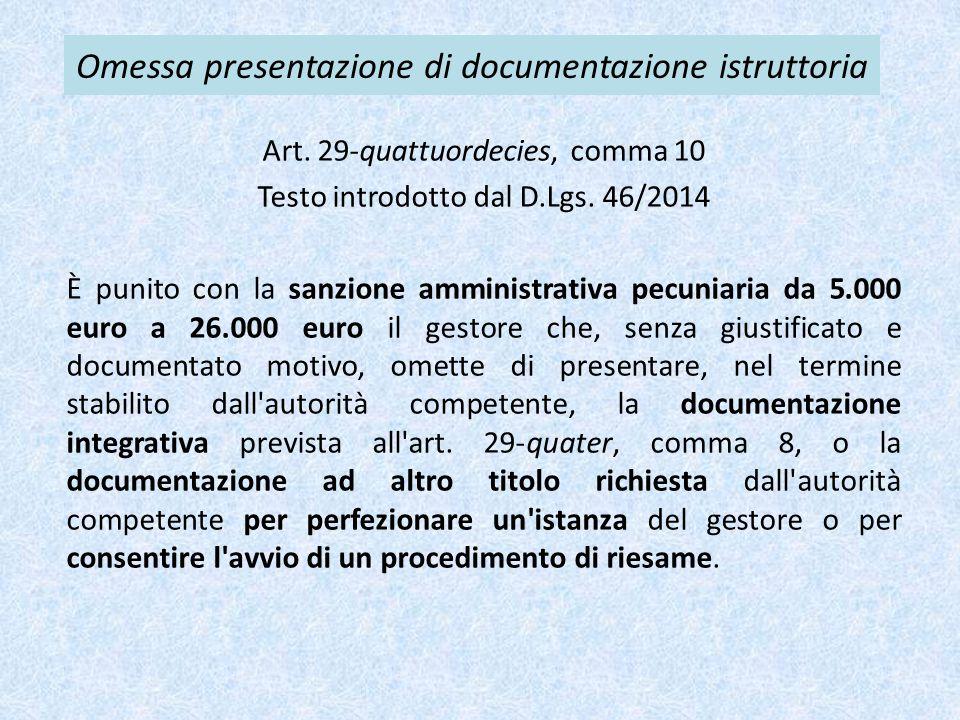 Omessa presentazione di documentazione istruttoria