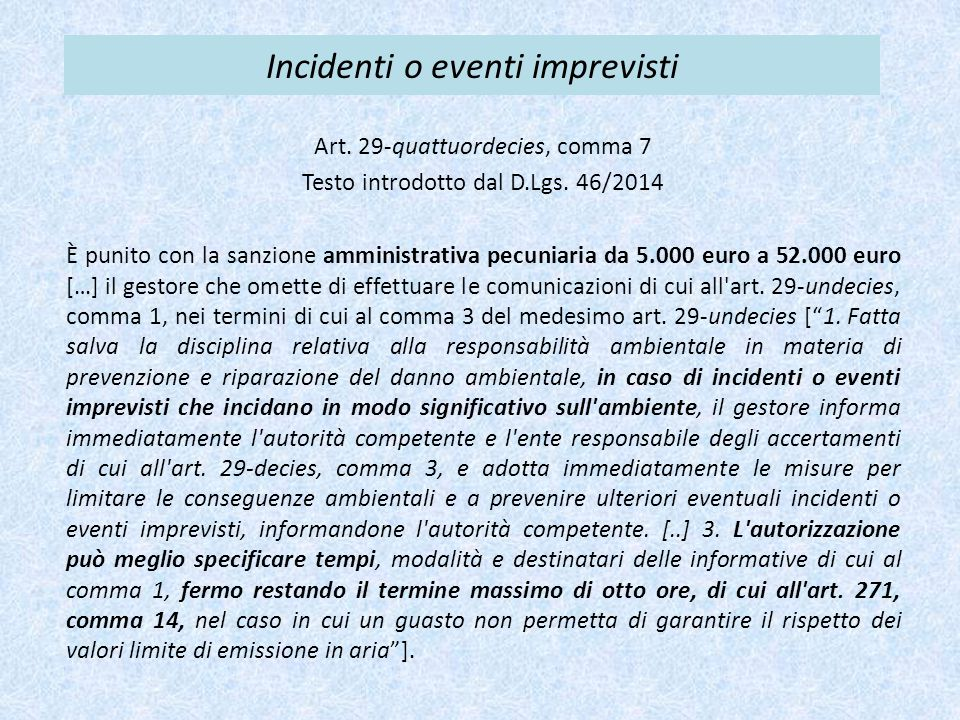 Incidenti o eventi imprevisti