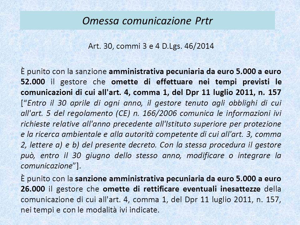 Omessa comunicazione Prtr