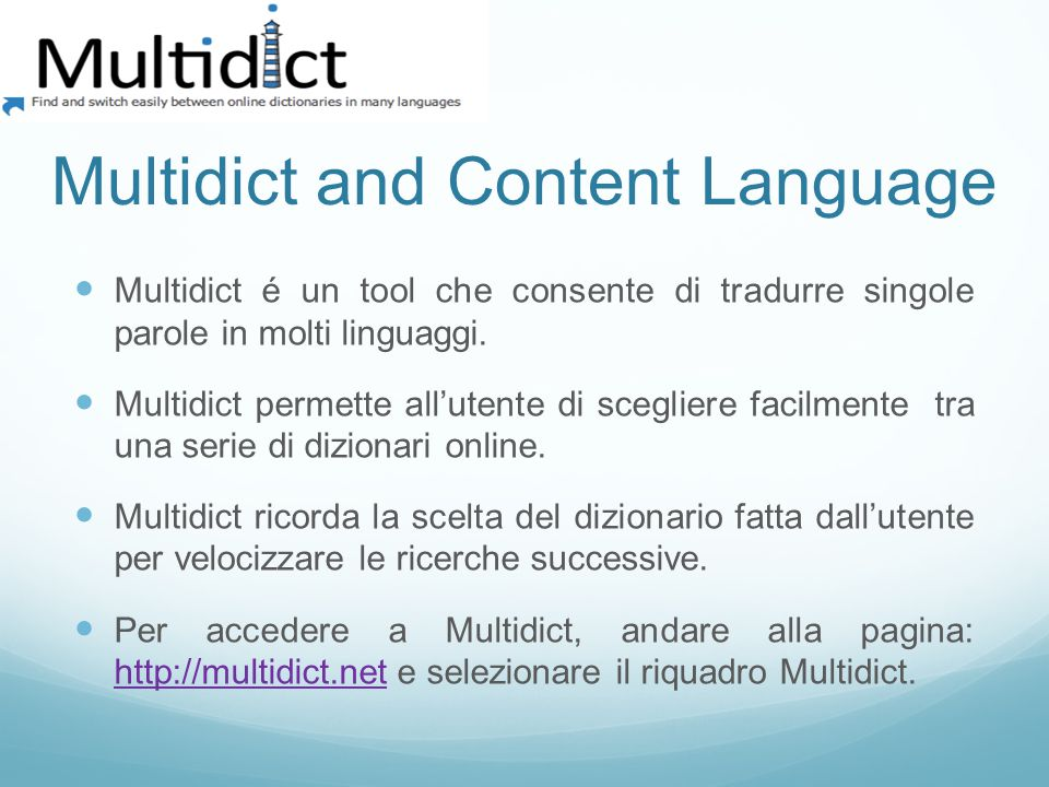 Multidict and Content Language