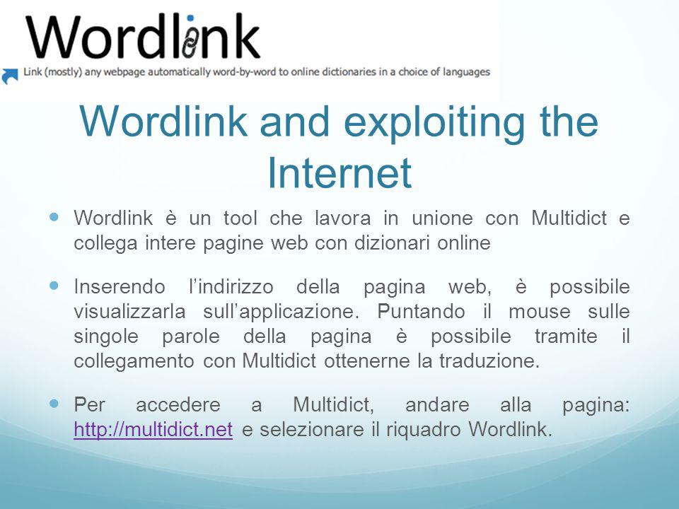 Wordlink and exploiting the Internet