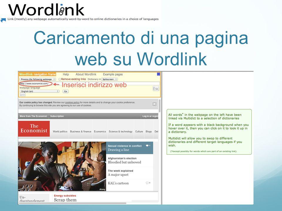 Caricamento di una pagina web su Wordlink