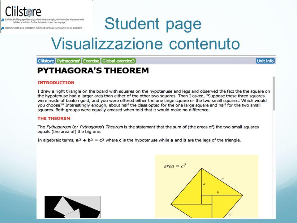 Student page Visualizzazione contenuto
