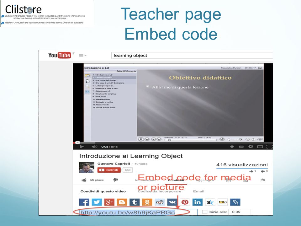 Teacher page Embed code