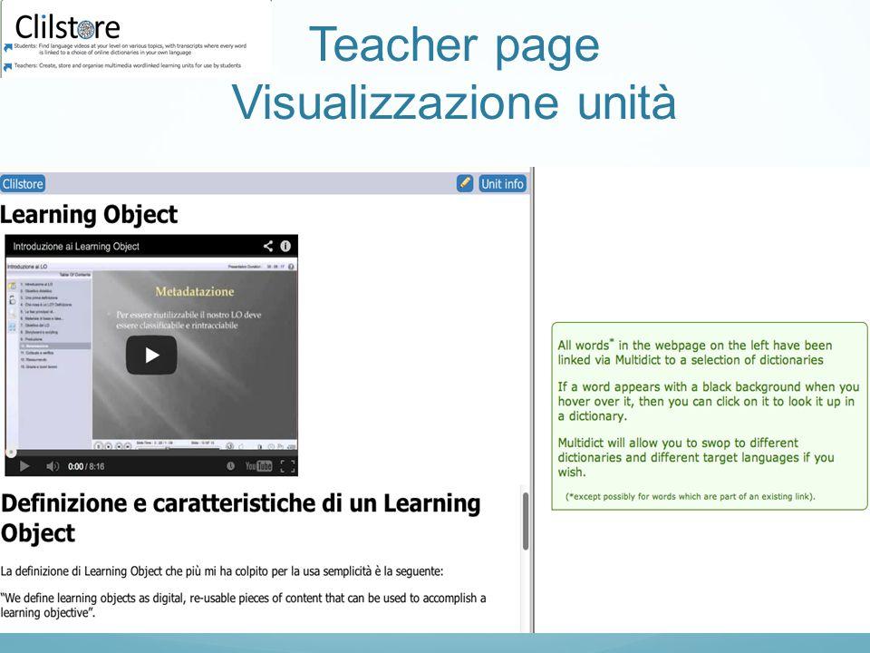 Teacher page Visualizzazione unità