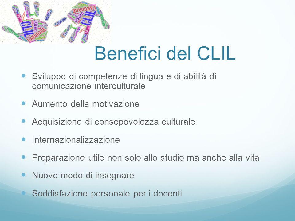 Benefici del CLIL Sviluppo di competenze di lingua e di abilità di comunicazione interculturale. Aumento della motivazione.