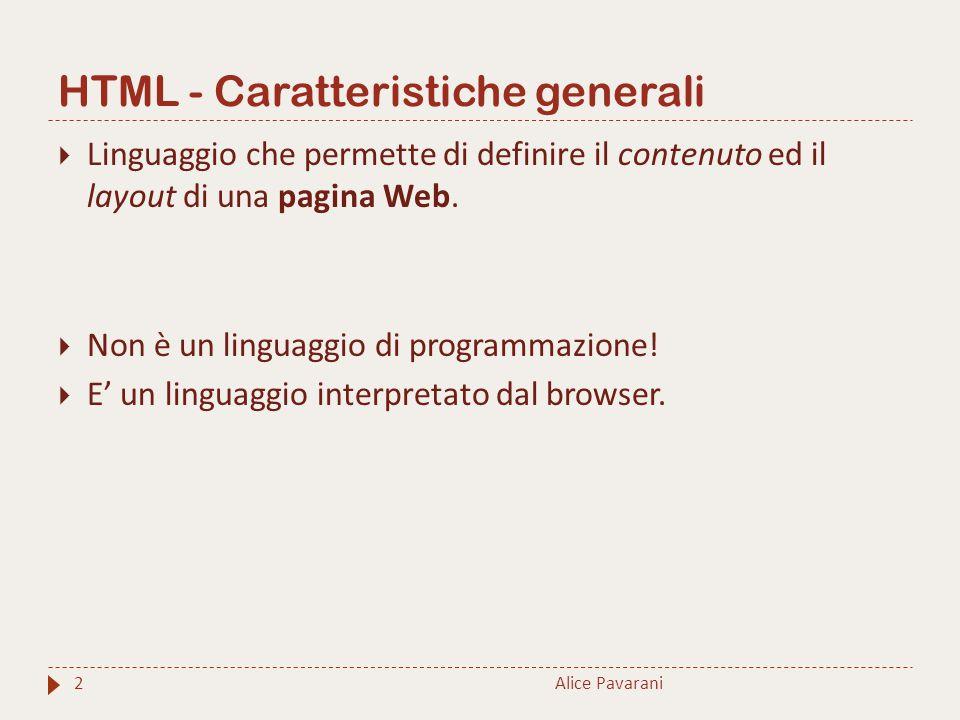 HTML - Caratteristiche generali