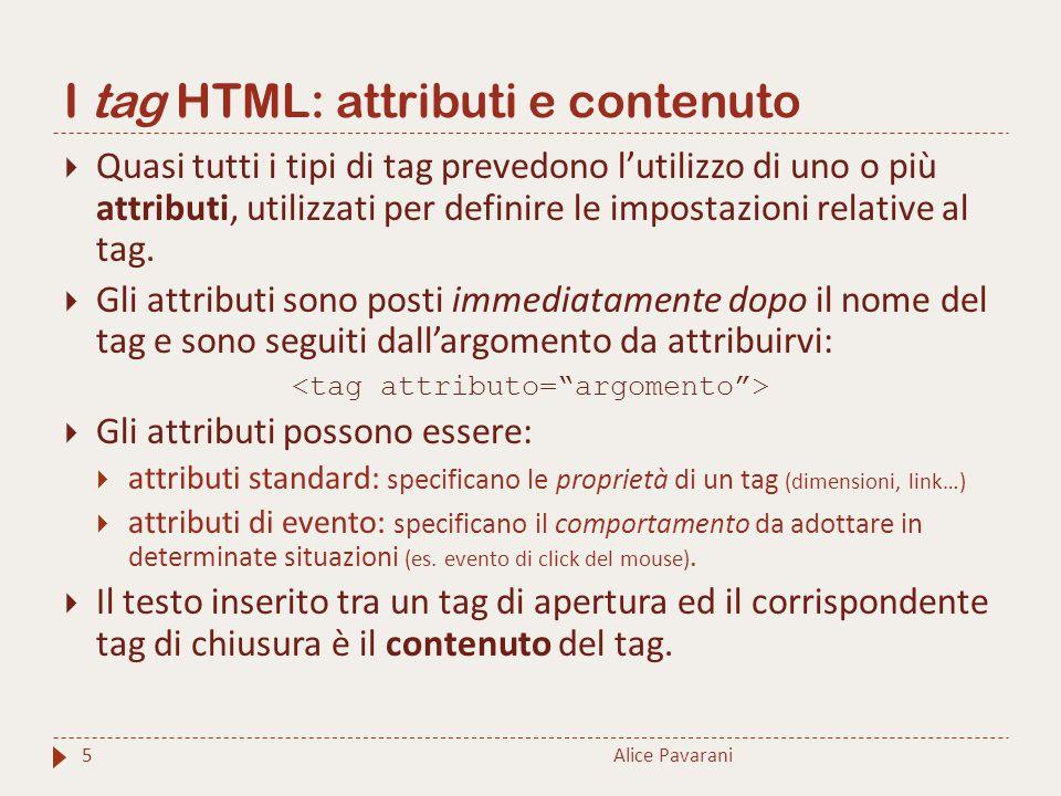 I tag HTML: attributi e contenuto