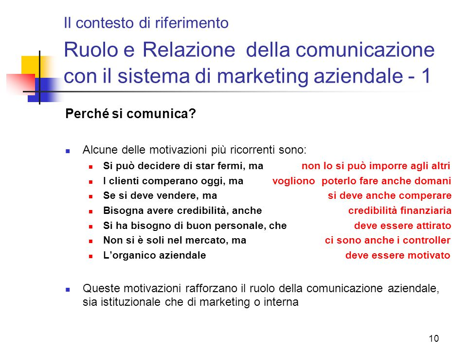 Il contesto di riferimento Ruolo e Relazione della comunicazione con il sistema di marketing aziendale - 1