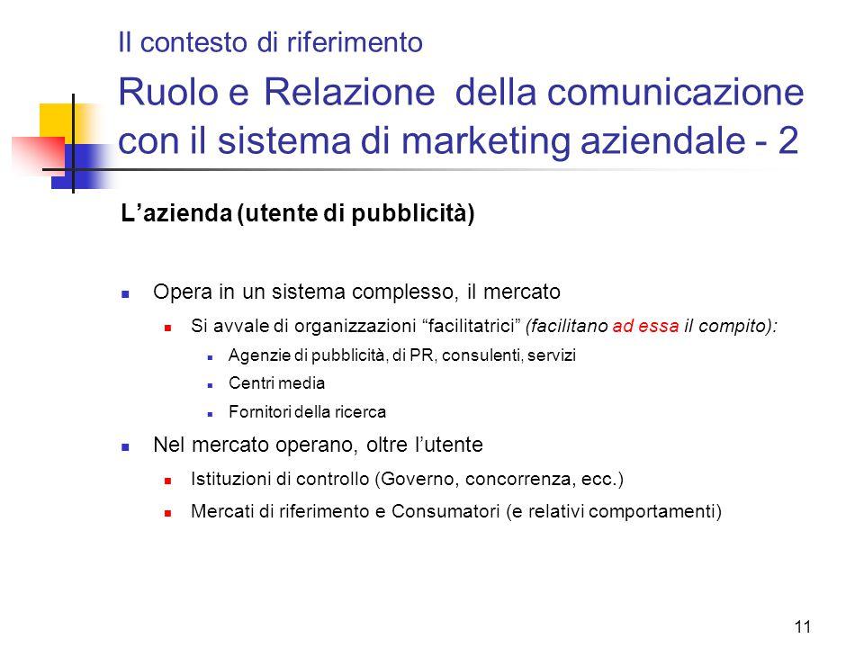 Il contesto di riferimento Ruolo e Relazione della comunicazione con il sistema di marketing aziendale - 2