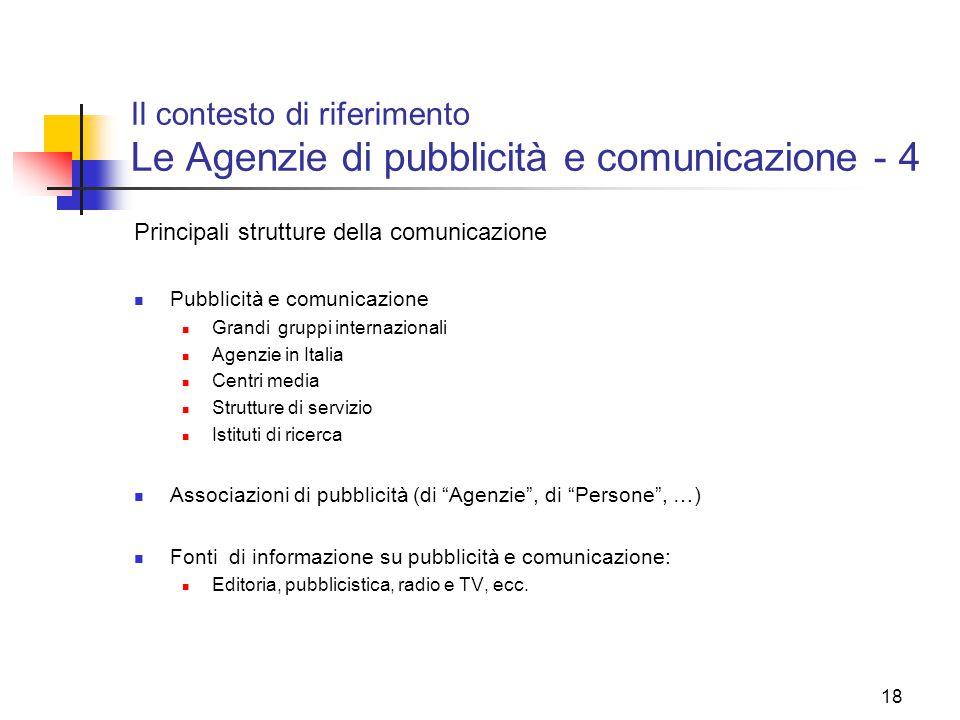Il contesto di riferimento Le Agenzie di pubblicità e comunicazione - 4