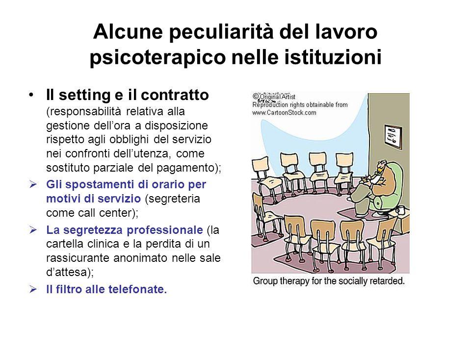 Alcune peculiarità del lavoro psicoterapico nelle istituzioni